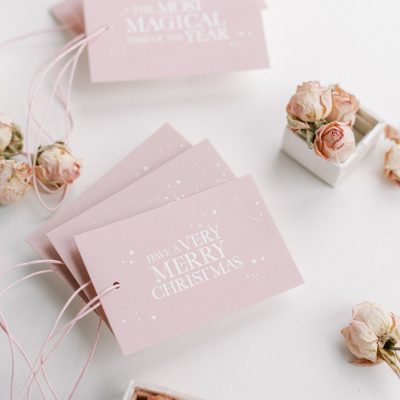 Magical pink Christmas tags with pink paper twine