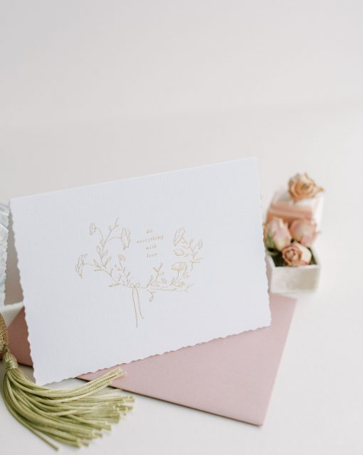 Do everything with Love Card with a deep blush envelope