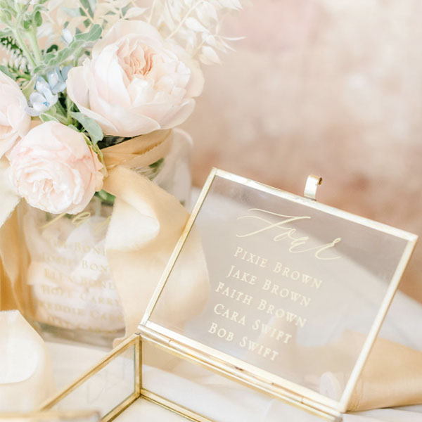 Table Plan printed onto gold and glass boxes